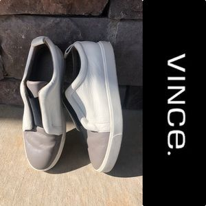 Vince Soft Leather Canvas Sneakers s8.5 Rtl:$140